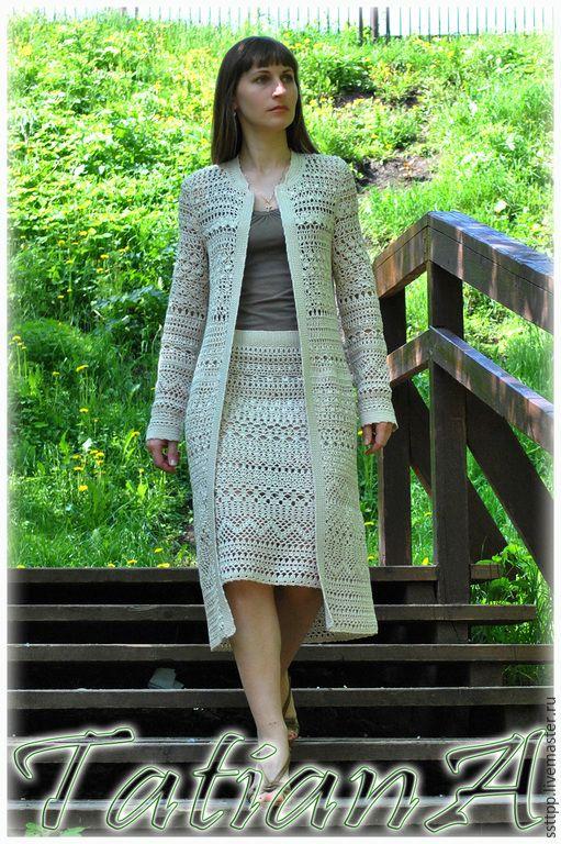"""Купить Вязаный костюм """"Super Natural Expression"""" - разноцветный, пальто, вязаное пальто, пальто крючком"""