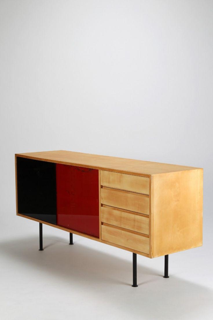 Kurt Thut; Birch, beech and Glass Sideboard for Thut Mobel, 1950s.
