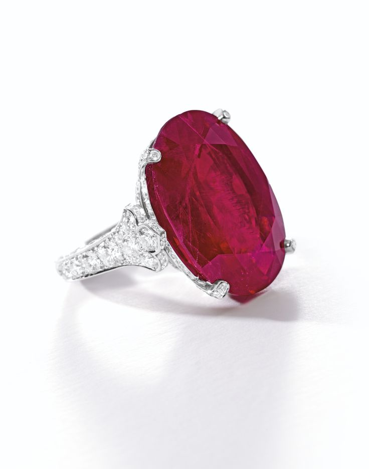 Angara 8-Prong Natural Ruby Solitaire Ring with Tiny Diamonds in Platinum