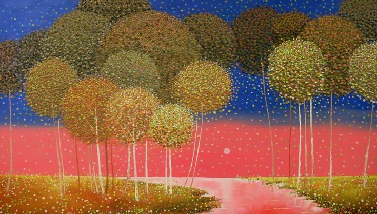 Vu Quoc Dung: Pink Moon Night, Oil on Canvas, 100 x 180 cm