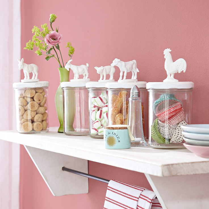 diy / cute jar lid idea - spray paint plastic animals and stick 'em on.