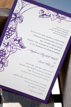 purple wedding invitation