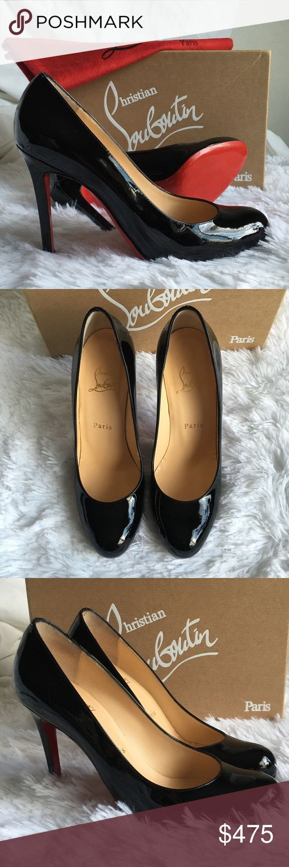 "NIB Christian Louboutin Ron Ron Black Pumps 37 NIB Christian Louboutin Ron Ron Black 100mm Pumps 37.  Classic round-toe pump with sleek leather styling.  Signature red soles.  4"" heel.  Comes with box (not original) and dust bags. Christian Louboutin Shoes Heels"