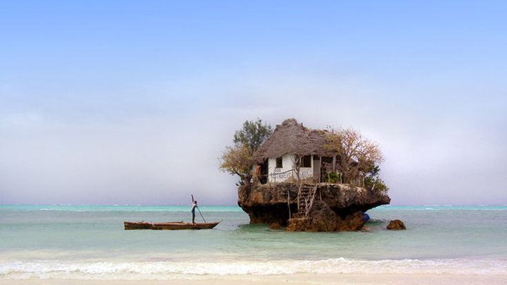 the rock restaurant, zanzibar, tanzania-- a tiny seafood restaurant perched on a rock in the middle of the indian ocean