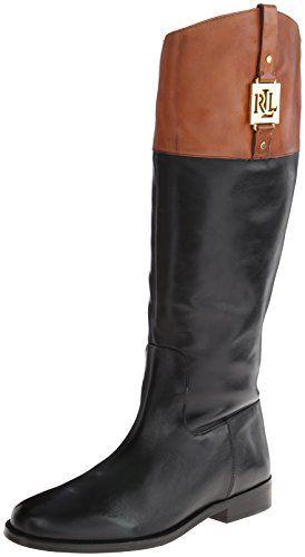 boots: Lauren Ralph Lauren Women's Jaden Riding Boot, Black/Polo Tan  Burnished Leather, 9 B US