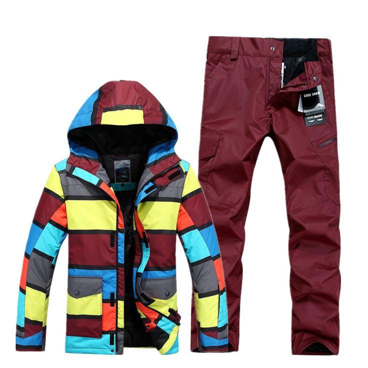 Gsou Snow Waterproof Men Ski Suit Windproof Male Ski Jacket Ski Pants Snow Clothes Outdoor Single Board
