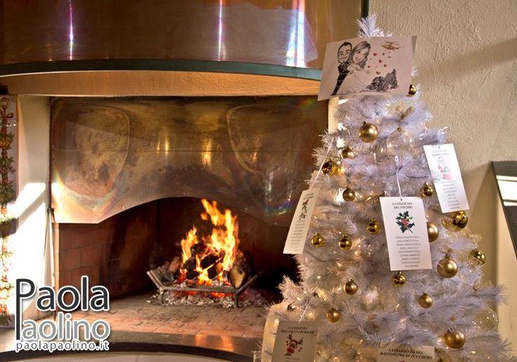L'aria del Natale rende magica anche l'atmosfera del #matrimonio, per chi decide di sposarsi a dicembre: il camino, il gelo, l'albero di Natale.  E questo Tableau fatto sull'albero, con la #caricatura degli #sposi sulla cima?