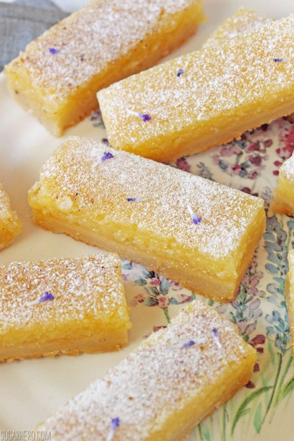 "LAVENDER LEMON BARS - ""I gave my lemon bars a twist by making one little substitution: I swapped the regular sugar with lavender sugar. Lavender sugar is super simple to make—you basically just blend lavender buds and granulated sugar together in a food processor until the lavender is in small pieces... It's very aromatic, with a woodsy, vanilla fragrance and a mildly herbal taste."""