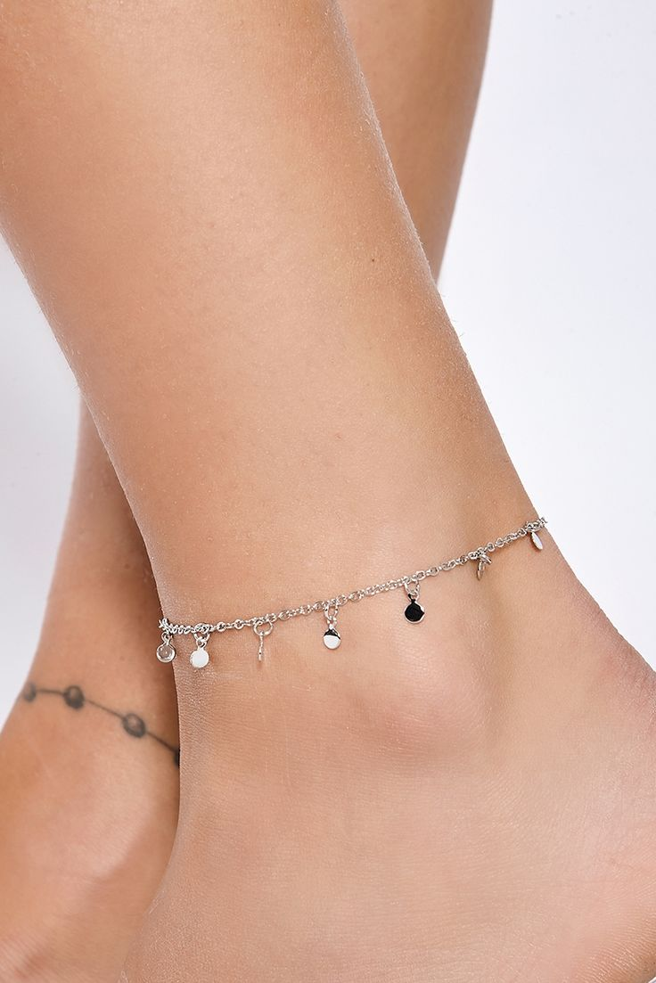 SILVER DISC CHARM ANKLET