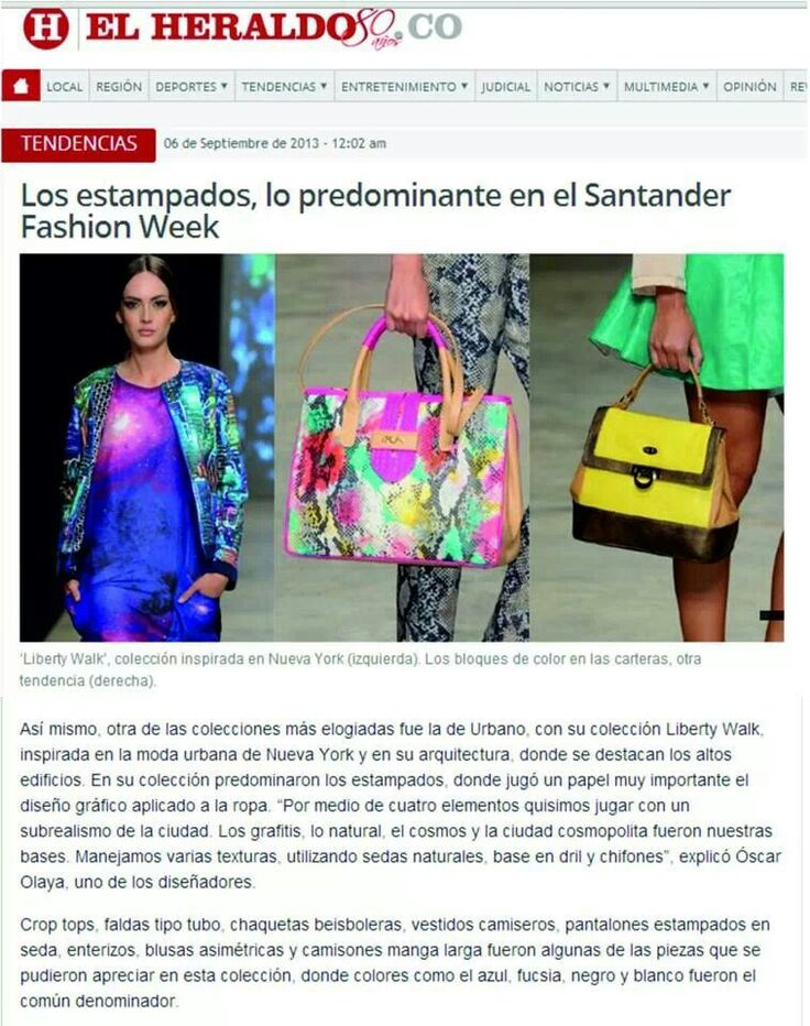Cubrimiento del Santander Fashion Week por el periódico El Heraldo de Barranquilla