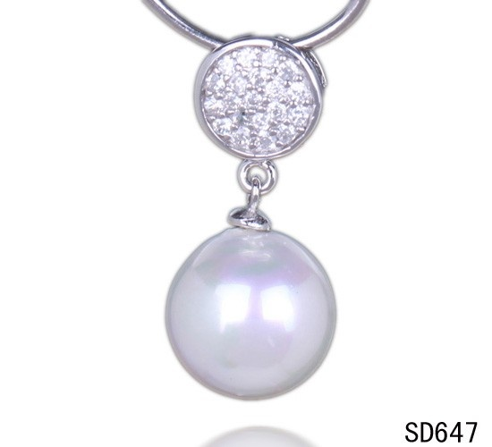 $2.78  26x13mm Clear Crystal 925 Sterling Silver Charms Dangle Pearl Necklace Pendant #Eozy