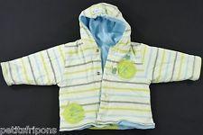 Veste à capuche réversible jersey rayé et polaire bleu Marèse 6 mois garçons