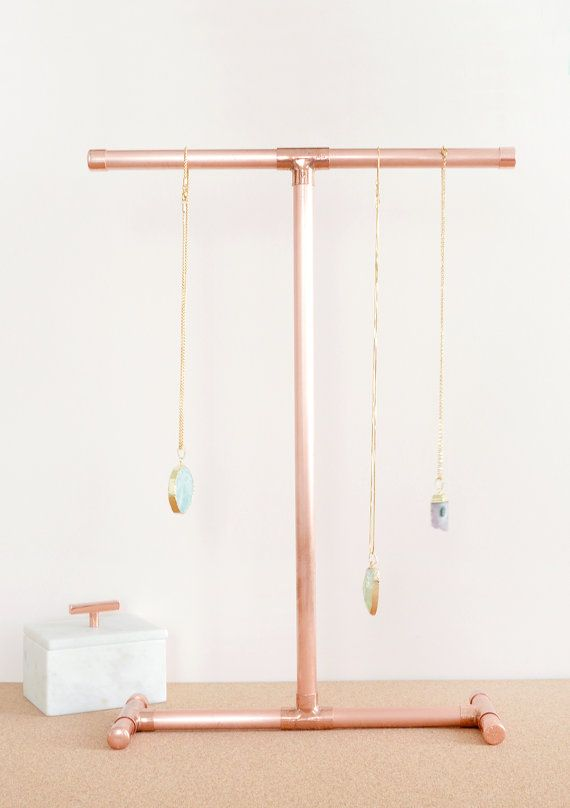 Copper Pipe Jewellery Stand for Necklaces by LittleDeerEtsy