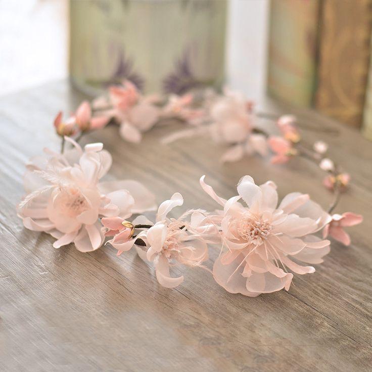 2016 pink flower headbands headwear wedding accessories bridal hair jewellery beach charming headpiece for brides A335