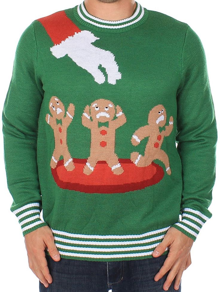 Tipsy Elves Ugly Christmas Jumper - Gingerbread Nightmare Jumper: Amazon.co.uk: Clothing