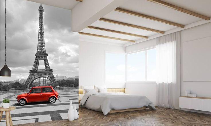 Sypialnia z paryskim akcentem http://mural24.pl/konfiguracja-produktu/68974310/ #homedecor #fototapeta #obraz #aranżacjawnętrz #wystrójwnętrz, #decor #desing