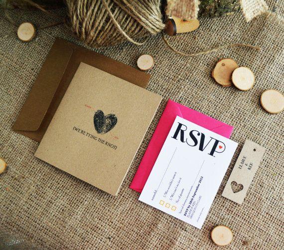 10 x Fuschia/Bronze Wedding Invitation / Rustic by adrimdesign