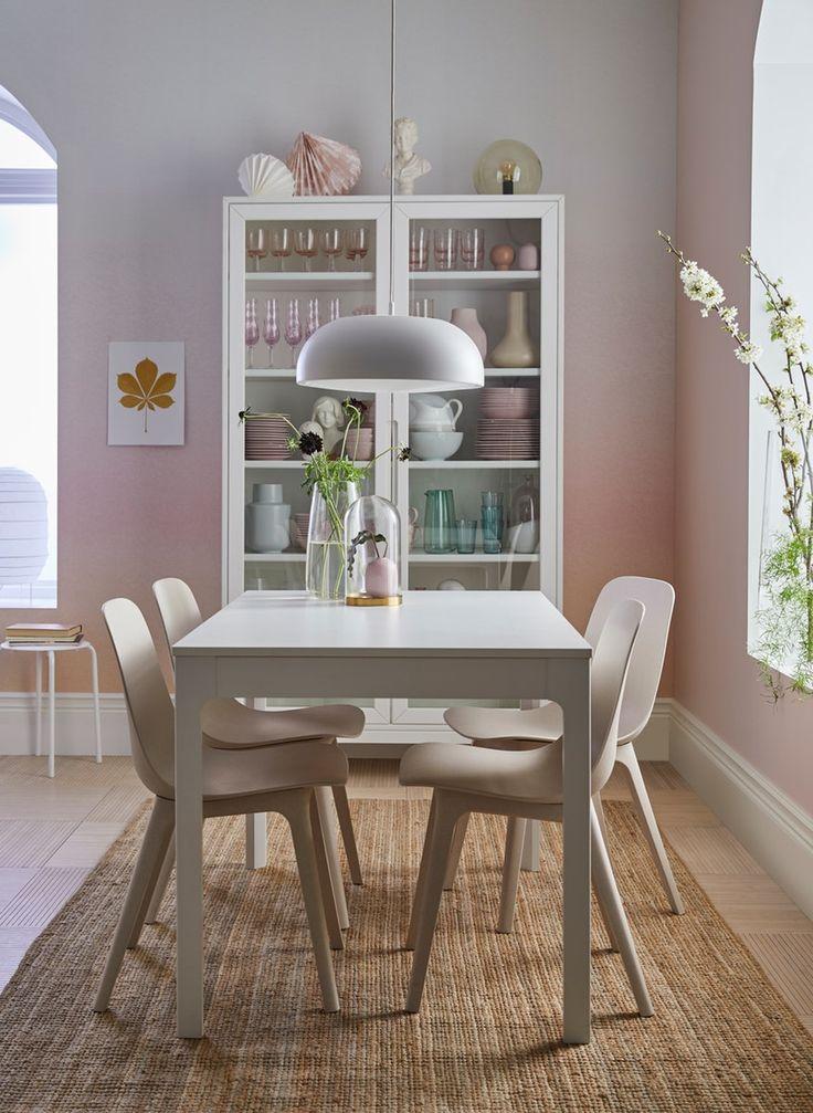 EKEDALEN Extendable table white 120/180x80 cm White