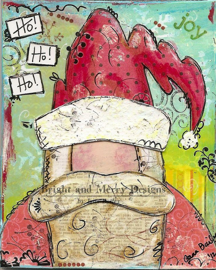 Raining Grace - Christmas cards  Mixed Media  Santa Clause