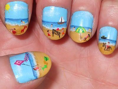 wow!Beach Scene, Nails Art, Nails Design, Shorts Nails, Summer Beach, At The Beach, Beach Theme, Summer Nails, Beach Nails