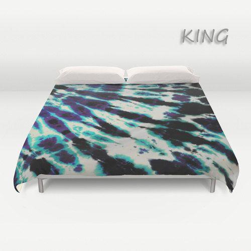 Duvet Cover-Comforter Cover-Tie Dye Bedding-Purple Blue Black -Blanket Cover-King Queen Full