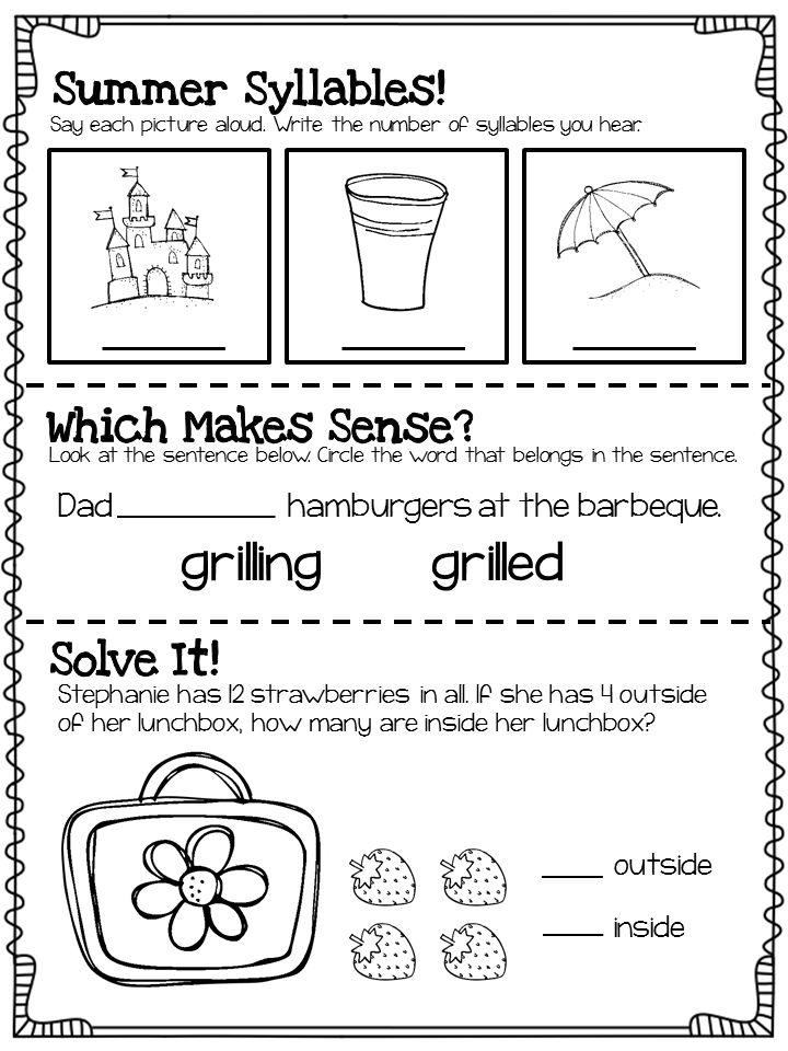 summer review for 1st graders entering 2nd grade kinderland collaborative summer worksheets. Black Bedroom Furniture Sets. Home Design Ideas