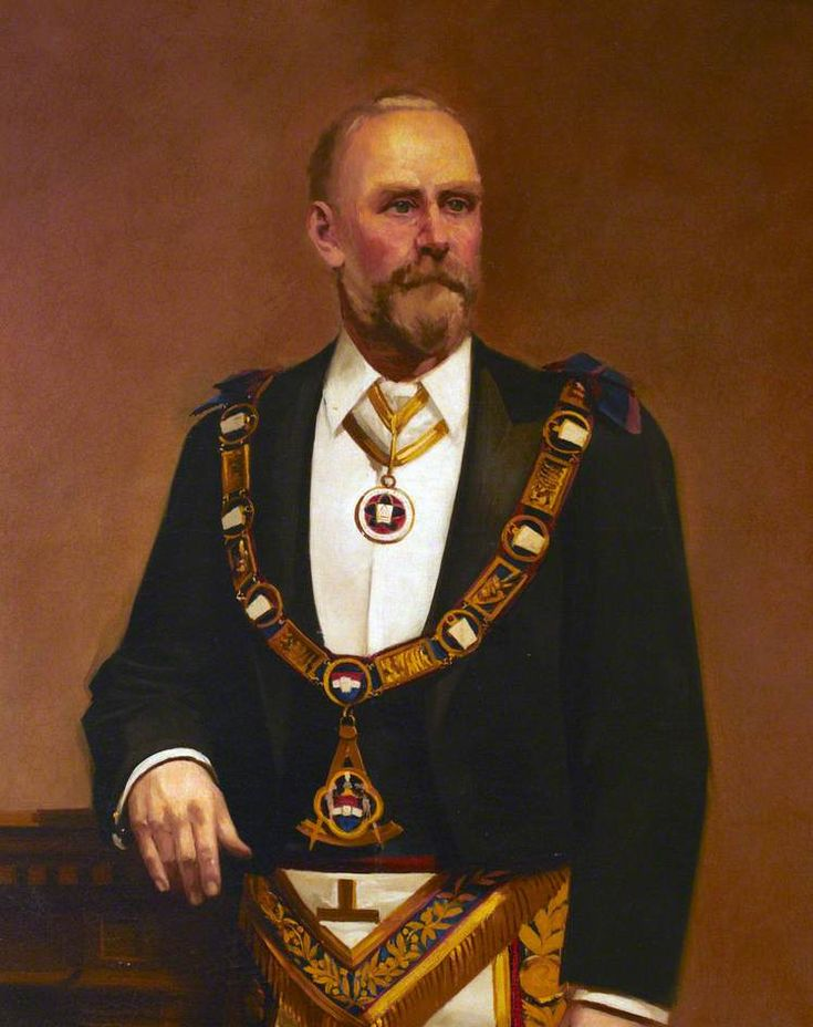 """""""Earl Amherst, When Viscount Holmesdale Grand Master (1863–1866)"""" by Jean Marius Rogier (1851-1928).  Mark Masons' Hall"""
