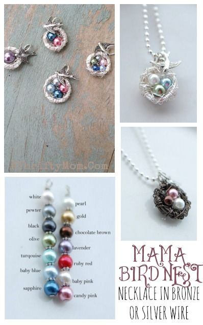 Mothers Day gift idea, mama  bird nest necklace with pearls for each child , love this and the Jamberry nail wraps too