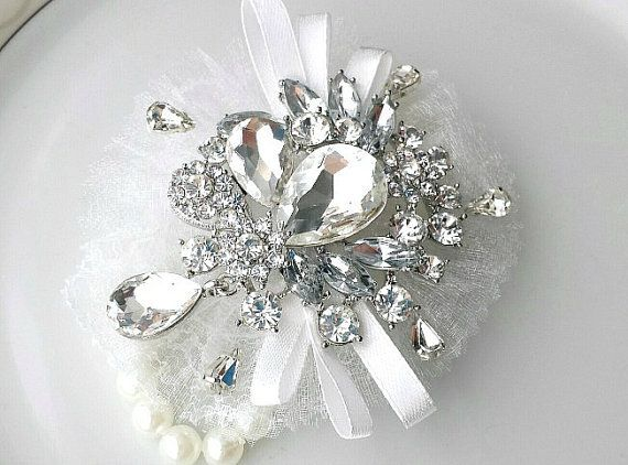Wrist Corsage Rhinestone Brooch Charms Corsage by TheTossedBouquet