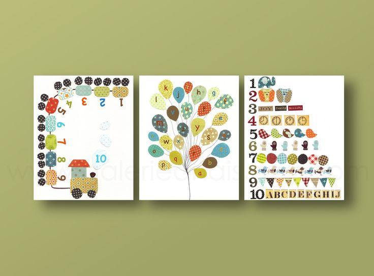 Wall Art For Nursery School : Kids wall art baby boy nursery