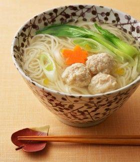 鶏団子のゆず風味温麺(うーめん)