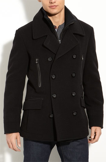 "March New York Webster Peacoat. Quite possibly an end to a ceaseless search for a well fitting go-to peacoat for a guy who's 5' 8"" and muscular. Medium (I tried it on)."