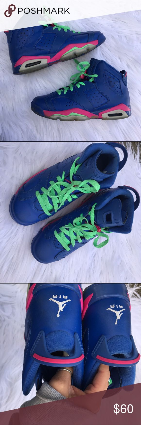 JORDAN 6 SZ 7.5 BLUE SNEAKERS SHOES PINK 100% authentic Jordan 6 Jordan Shoes