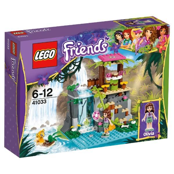 LEGO Friends Jungle Falls Rescue #41033 Summer 2014 The LEGO® Friends Jungle Falls Rescue 41033 includes an Olivia Mini-doll figure, a tiger cub, chameleon and accessories. A bear cub is stranded on a dangerous old rope bridge. Help Mia to jump in the helicopter and rush to the scene, before telling Matthew to meet you there in his off-roader.