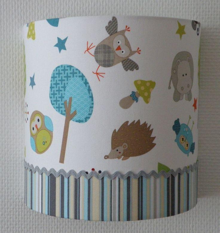 applique demi cylindre pour chambre d'enfant, chouette hibou, hérisson, hippopotame sur fond blanc : Décoration pour enfants par anne-claude-c