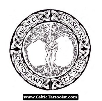 Nice Celtic Tree Of Life Logo Tattoo Design
