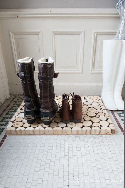 Wood Slice Door Mat Boot Tray | brooklynlimestone.com