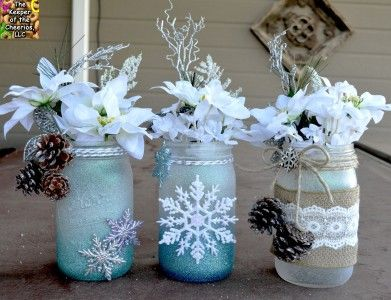 Winter Wonderland Mason Jars Materials Used: Mason Jars, Dollar Store flowers, Glitter Blast Spray Paint HERE (Colors used, Diamond Dust, Sparkling Waters, and Sapphire Shimmer ) , burlap, hemp, pine cones, bells, Snow Flakes, Hot glue and Hot glue gun, and Misc. embellishments. (looking for the glitter spray CLICK HERE for where I purchase mine) Directions: Make sure your glasses are clean then simply spray them with the glitter spray and let dry for 24 hours. Once dry you can embellish…
