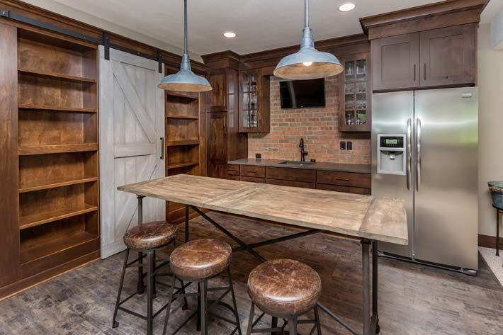 Stratford thin brick in this rustic modern basement bar for Modern brick veneer