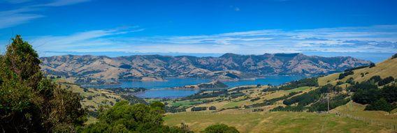 Nieuw in mijn Werk aan de Muur shop: Panorama in de buurt van Akaroa, Nieuw Zeeland