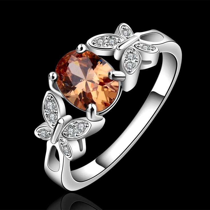 >> Click to Buy << Sweet OL Wind Two Butterfly Champagne Zircon 925 Silver Ring Job Dating Wear #Affiliate