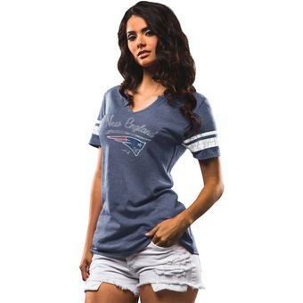 Women's New England Patriots Majestic Navy Game Tradition T-Shirt