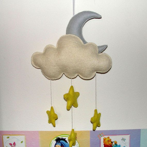 Wool Felt Moon Cloud and Stars Ornament Felt Ornament Wall