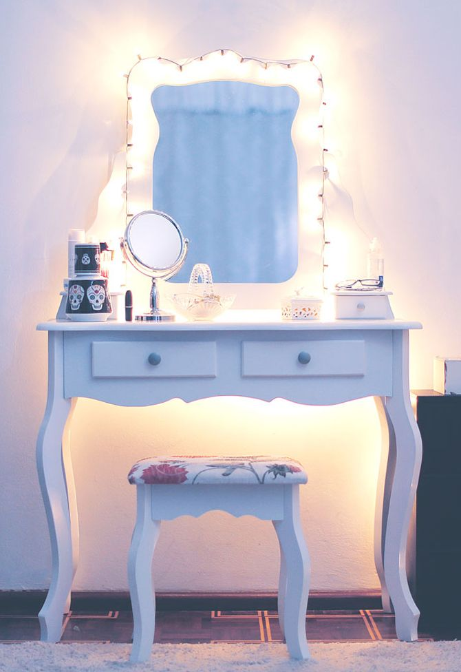 I still have my vanity that is very much like this one. It is cherry wood and I would love to redo it if one day we have a little girl. If I don't I will probably give it to someone special.