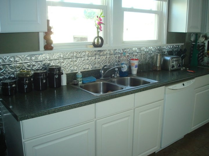 Metal Backsplash With White Cabinets Backsplash