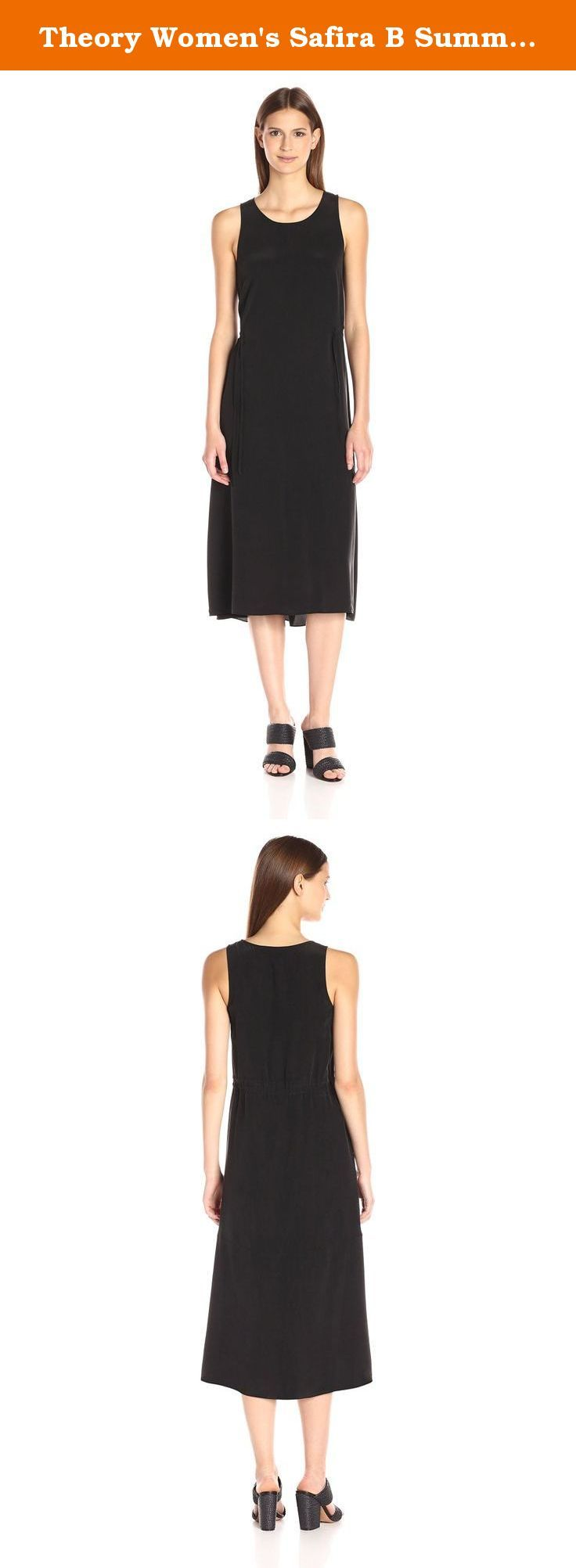 Theory Women's Safira B Summer Silk Dress, Black, 0. Washed silk, midi-length tank dress with two tie's that cinch at the side.
