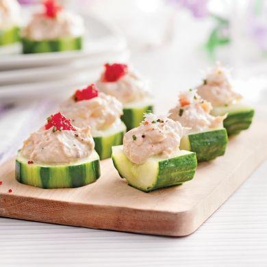 Canapés de concombre à la mousse de crabe - Recettes - Cuisine et nutrition - Pratico Pratique