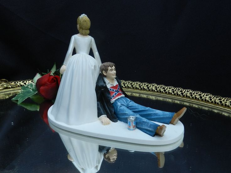 beer wedding cake topper southern rebel confederate flag lover bubba 11259