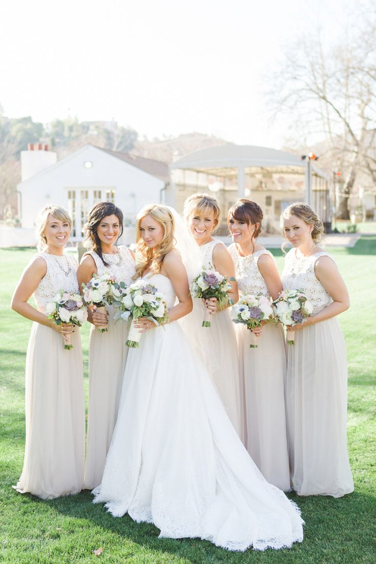 Neutral bridesmaids | Read More: http://www.stylemepretty.com/little-black-book-blog/2014/07/07/santa-monica-mountains-vineyard-wedding/ | Photography: One Eleven Photography - www.oneelevenphotography.com