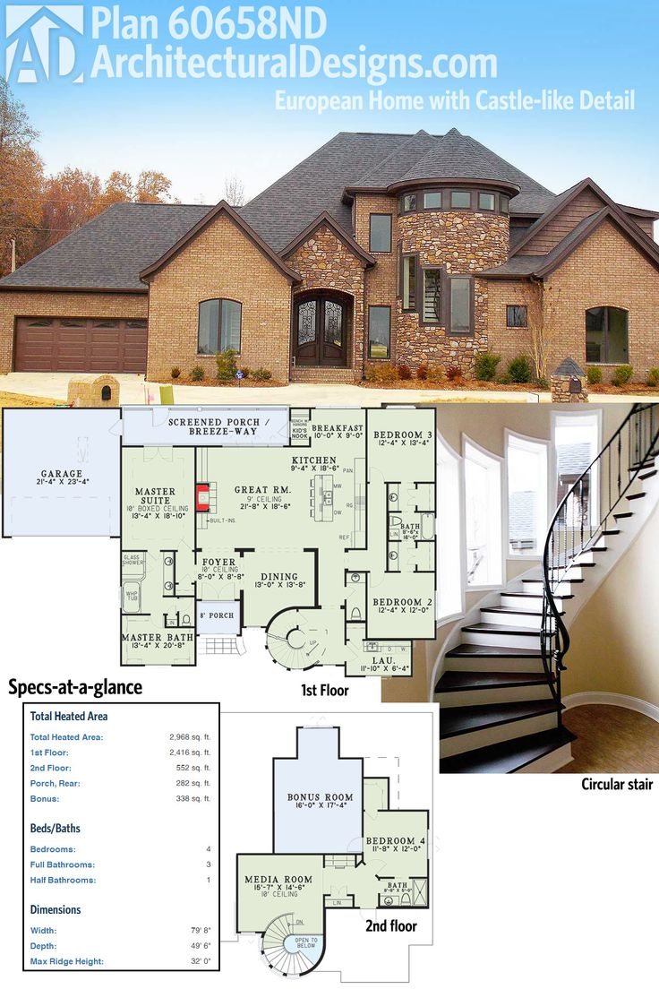 With its circular stair and open floor plan, we love how Architectural Designs Castle-like House Plan 60658ND looks inside and out. Ready when you are. Where do YOU want to build?